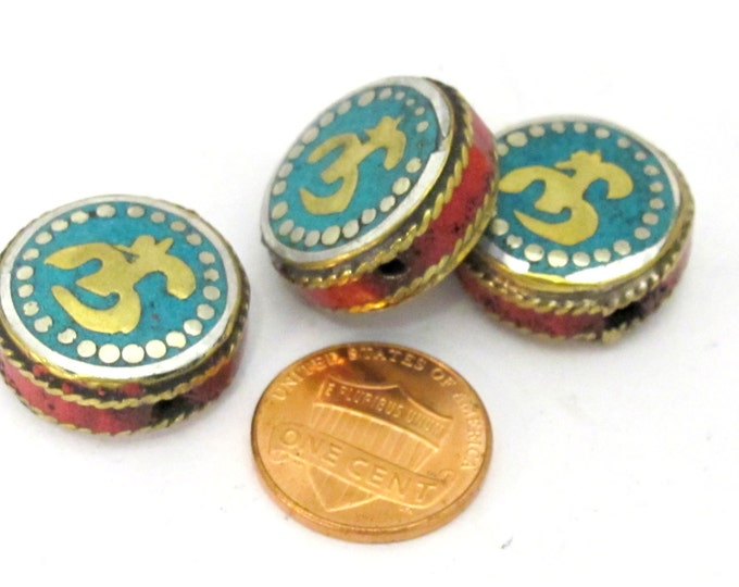 1 BEAD - 20 mm size Sanskrit Om inscribed reversible bead with turquoise coral inlay from Nepal- BD839