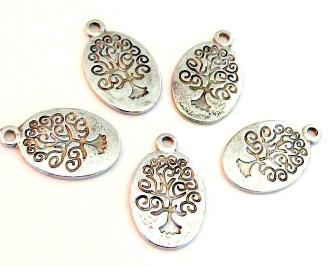 5 Tree of life dual sided charms oval shape antiqued silver color - CM068
