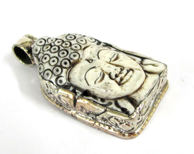 1 Pendant - Large carved bone Buddha pendant  with floral carving on reverse side - PB010B
