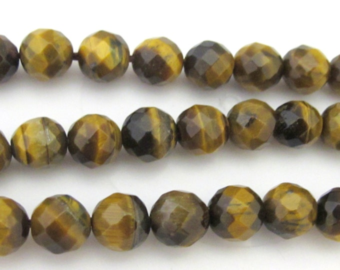 10 Beads  - Round faceted Tigers eye gemstone beads 8 mm  - GM354