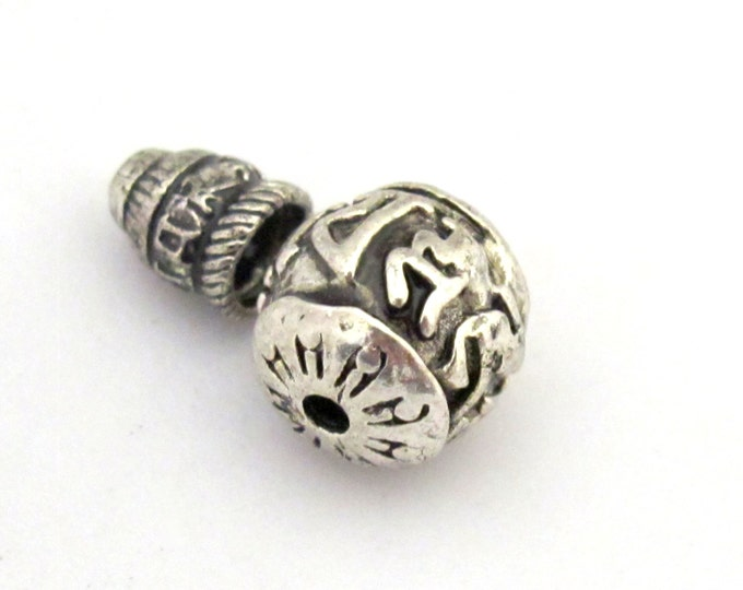 1 Guru bead set - Tibetan silver 3 hole Om mantra 12 mm size Guru Bead with Om mantra column bead - GB016