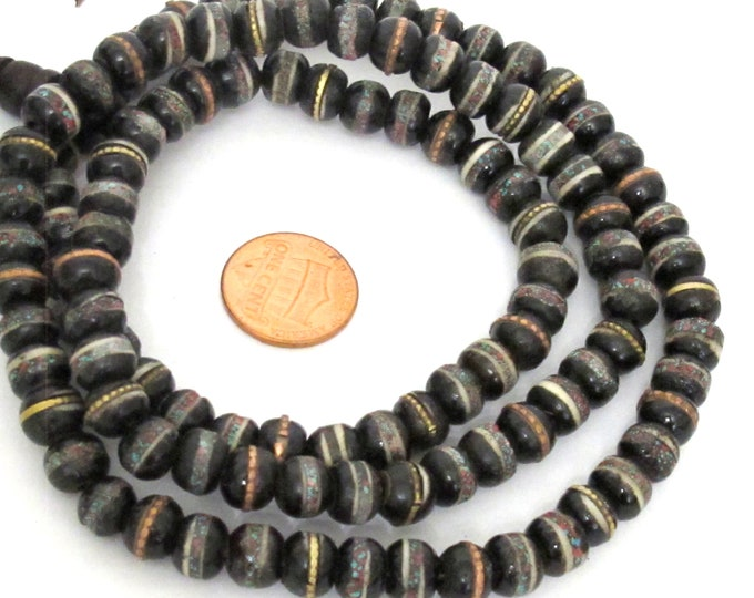 108 beads - 8 mm Tibetan black brown color bone mala with turquoise brass coral inlay beads supply - ML126A