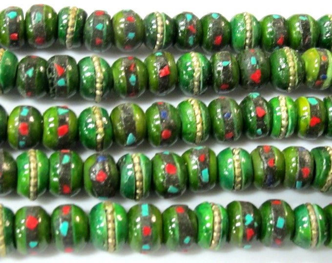 108 beads - 8 mm Tibetan green color bone mala turquoise brass coral inlay beads and Guru bead supply - ML076A