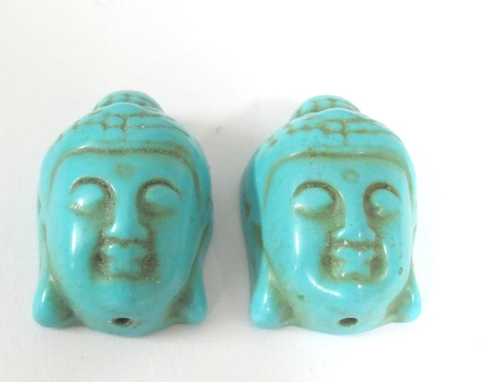 2 Beads - Turquoise howlite carved Buddha face focal pendant bead  - BD127B