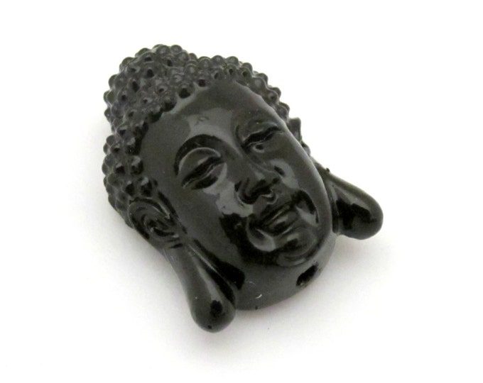 1 Bead - 20 mm x 15 mm Beautiful Black color resin  Buddha beads - BD657