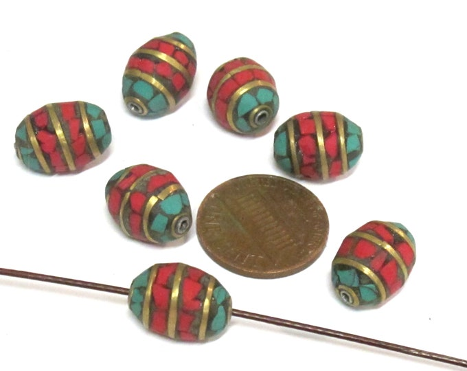 2 beads - Tibetan Nepal beads Red blue color mosaic band design brass beads with turquoise  inlay   - BD898F