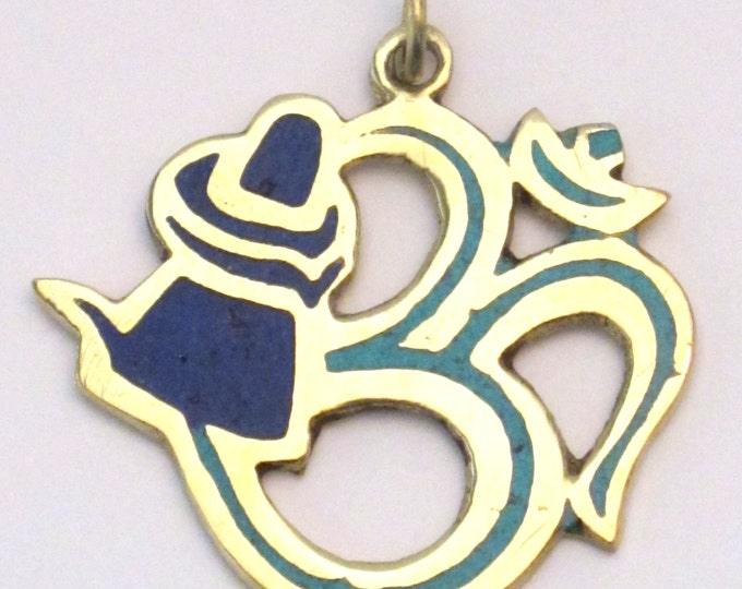Hindu Lord Shiva lingam with coiled snake Om brass pendant  with lapis and turquoise inlay- PM185C