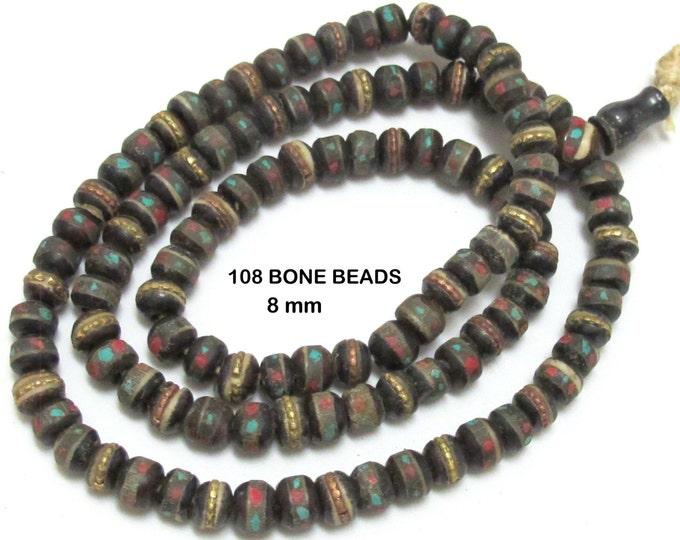 Rondelle shape 108 Tibetan bone mala beads supply and Guru bead with turquoise coral brass  inlay 8 mm  - 108 beads- ML010
