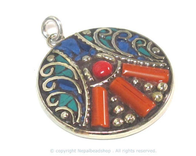 1 pendant - Beautiful round oval disc shape ethnic peace symbol Tibetan pendant with turquoise lapis coral  inlay - PM576B