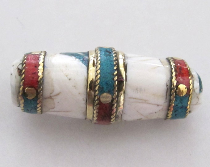 Long heavy tribal conch shell focal pendant bead with turquoise coral brass inlay - 1 bead - CH030