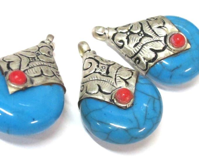 1 Pendant -Tibetan silver blue crackle resin reversible pendant with floral design on bail  - PM554C