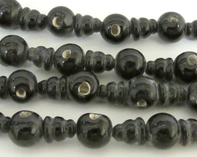 5 Guru Bead sets - 3 hole black color Glass Guru beads 11-12 mm  with column Beads   - GB026