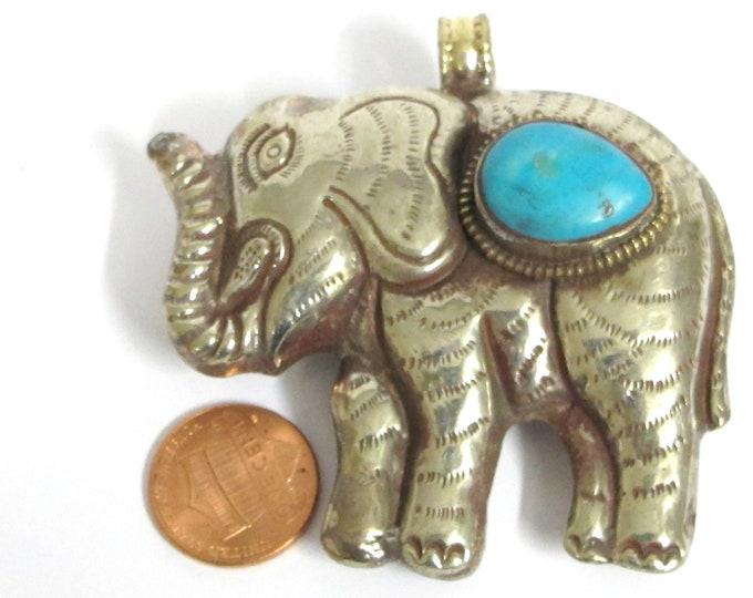 Elephant pendant large big bold size Ethnic Tibetan silver finish reversible Elephant animal pendant with turquoise inlay - PM354F