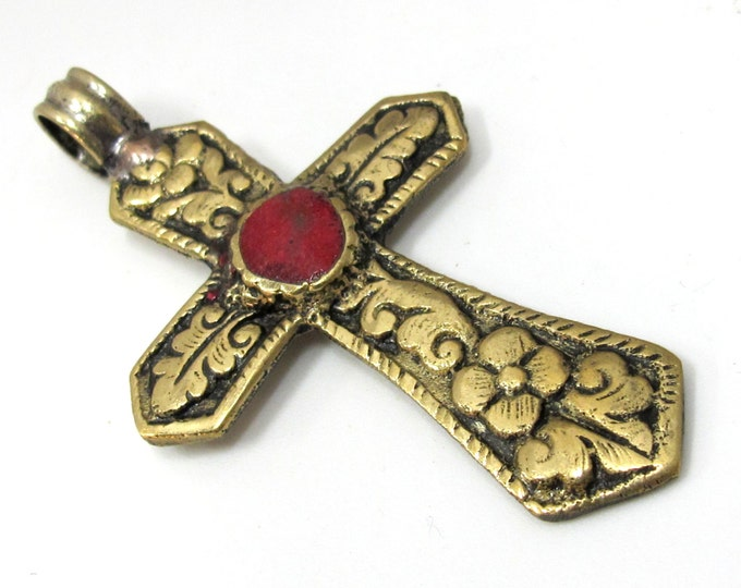 Reversible Tibetan Brass floral repousse cross Pendant  with coral inlay - PM481 custom designs Copyright Nepalbeadshop