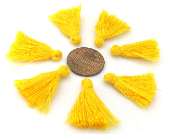 10 Pieces  - Small mini size saffron yellow color silky tassel charms tassle fringe craft mala supply 1 inch - TS009s