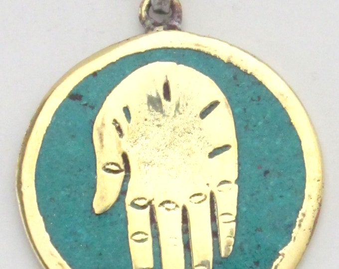 Buddha hand brass pendant with turquoise inlay from Nepal - PM186A