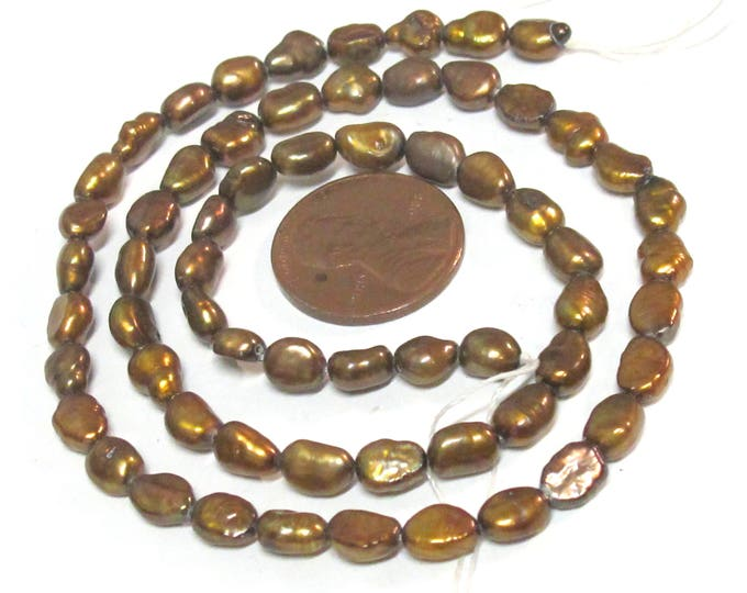 1 Full strand -Golden bronze color  freshwater cultured pearl  beads 15 inches strand - PL0031C