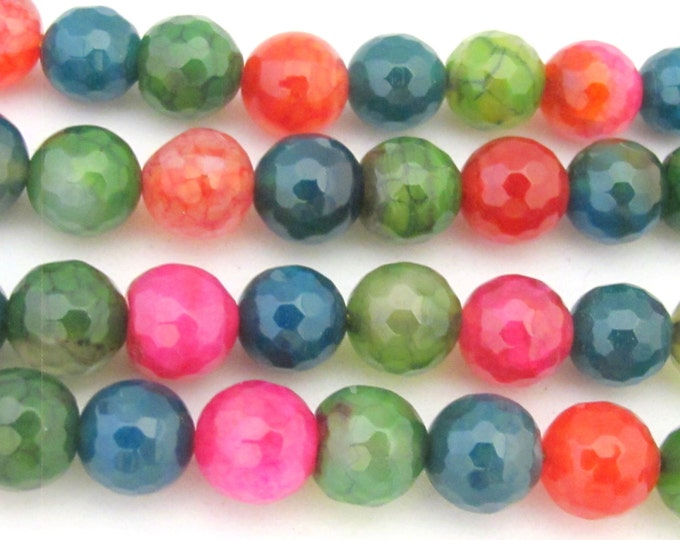 15 BEADS - Faceted round fire agate colorful gemstone beads 10mm  - GM363