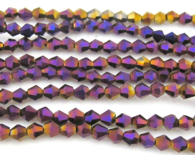1 Full strand - 16 inches Faceted bicone AB purple titanium color crystal glass beads 4 mm size - AB032