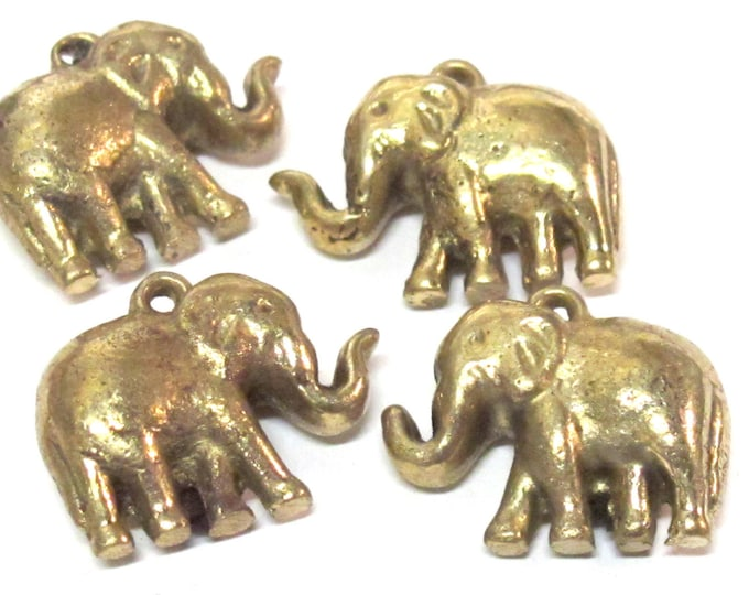 3 Pendants set  - Ethnic solid brass antiqued look elephant pendant from Nepal small size - CP119s