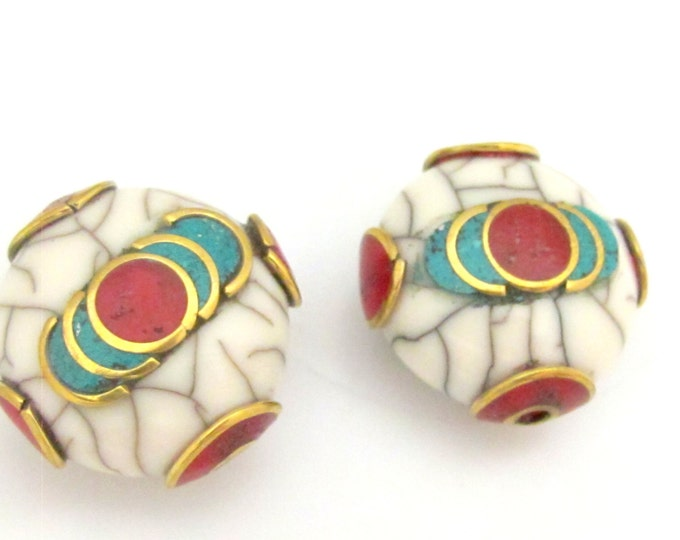 1 Bead - Tibetan white crackle Resin bead with brass , turquoise and coral inlay - BD689A