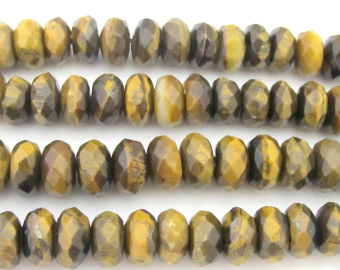 20 Beads  - Rondelle abacus faceted Tigers eye gemstone beads 9-10 mm  - GM346
