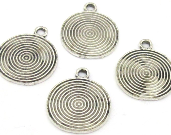 4 charms - Tibetan spiral symbol antiqued silver tone charms - 25 mm x 21 mm - CM144