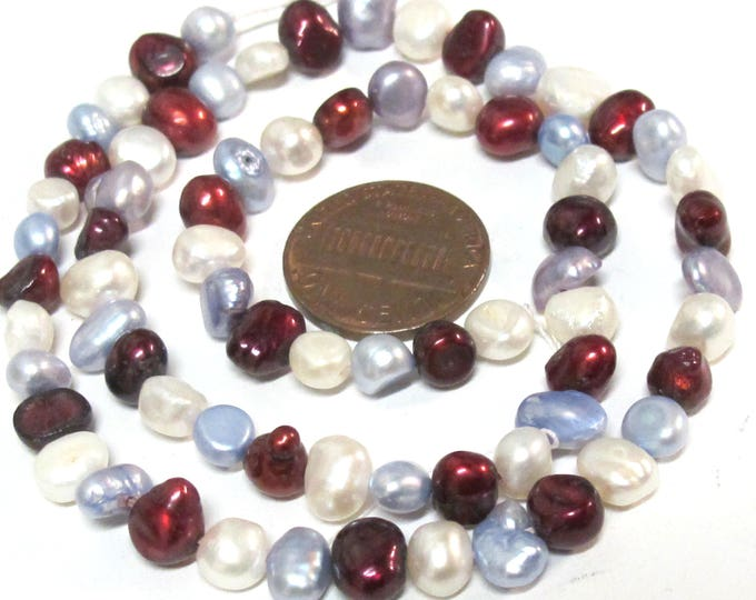 1 Full Strand  - White maroon greyish blue  color genuine freshwater cultured pearl  beads 15 inches  - PL005C