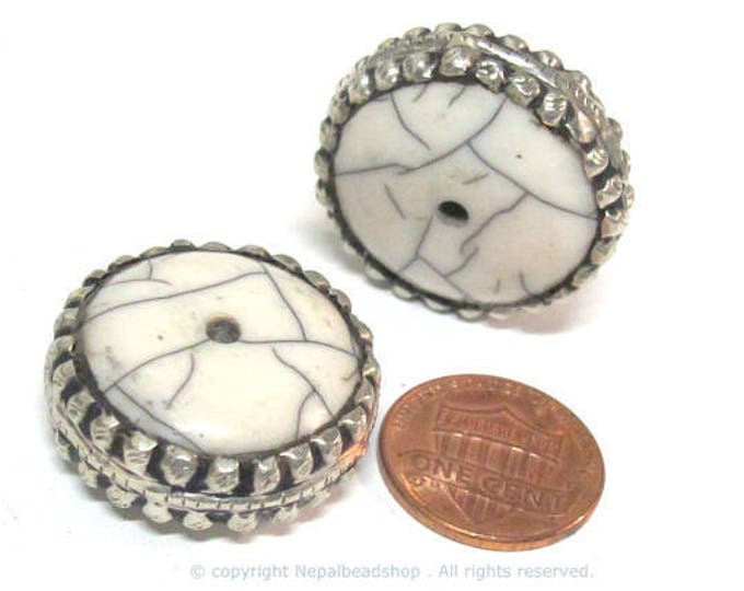 2 Beads - Beautiful large disc wheel shape tibetan silver encased white crackle resin focal pendant bead  - BD311Bx