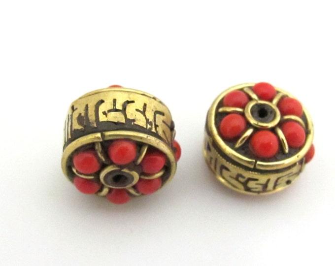 Tibetan om mantra brass prayer bead  -  1 bead - BD706B
