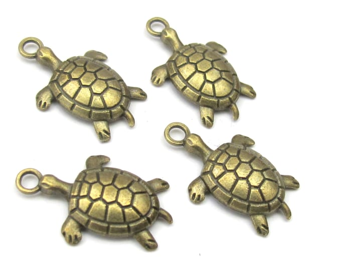 6  Antiqued Brass tone turtle charms 27 mm x 17 mm - CM024