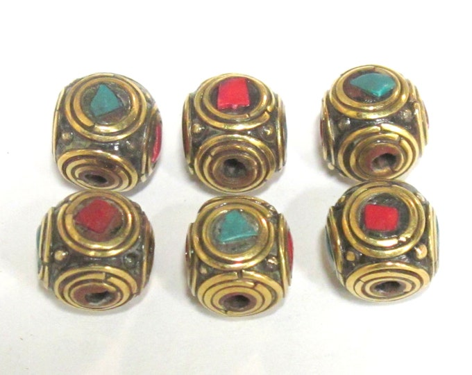 2 Beads - Ethnic Nepal brass beads with turquoise coral inlay cuboid shape - BD981