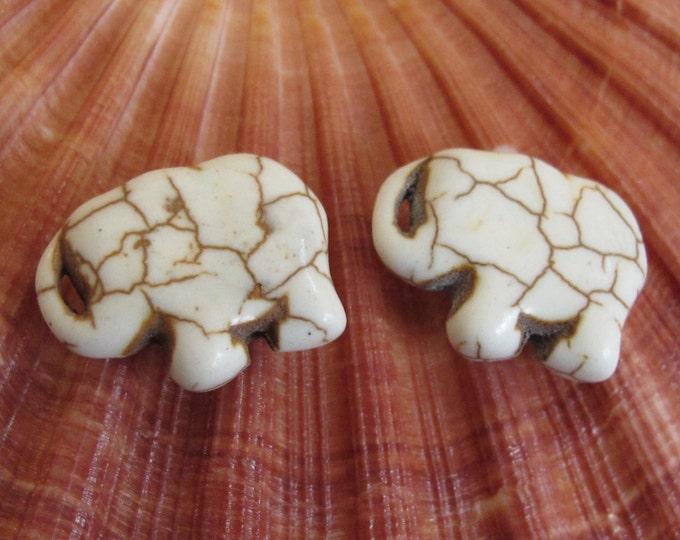 Elephant beads -10 Beads - Cream color howlite elephant shape small size beads pendant 15 mm x 21mm  - GM298