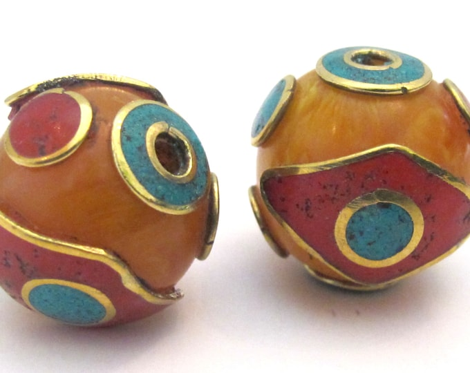 1 BEAD  - 20 mm size Tibetan copal Resin eye design bead with brass , turquoise and coral inlay - BD504G