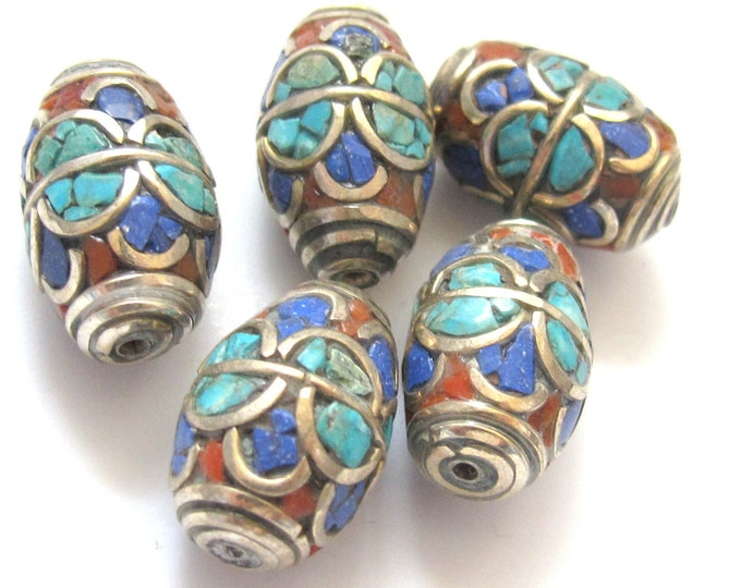 Tibetan brass bead with lapis  coral and turquoise - 2 beads - BD235