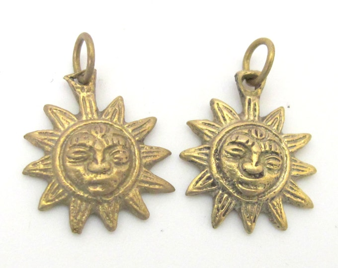 2 Pendants  - Small size solid brass Sun Pendants charms from Nepal - CP058 Custom Design Copyright Nepalbeadshop