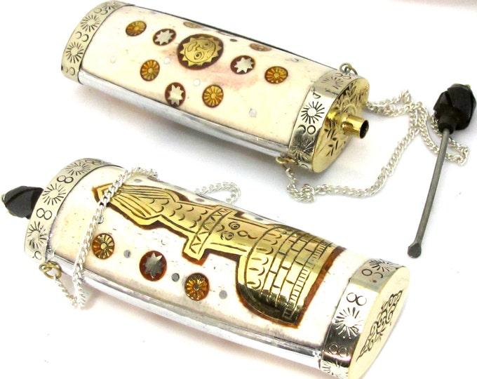1 Pendant - Large Tibetan silver  buddha stupa sun design snuff bottle pendant with bone brass inlays  - PM478