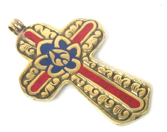 1 Pendant - Reversible Tibetan solid Brass cross pendant with lotus floral carving coral lapis inlay - PM564B Copyright Nepalbeadshop