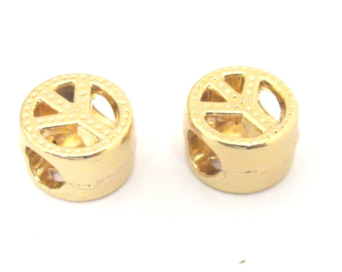 4 BEADS - Gold plated small retro peace symbol beads with large hole size - BD843