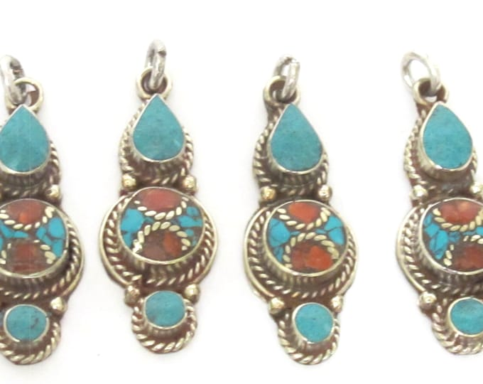 1 pendant - Nepal pendant ethnic Tibetan Small linear drop shape Tibetan silver charm pendant with turquoise coral brass  inlay - PM340G