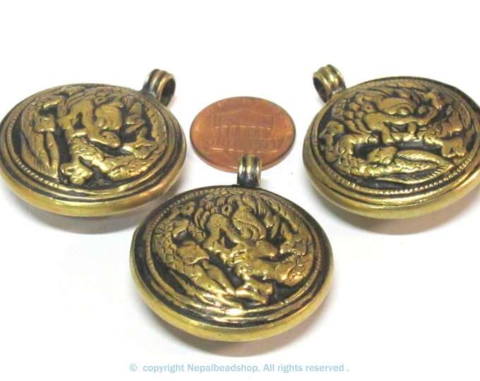 3 Pendants - Tibetan Brass reversible dragon pendant ethnic design brass filigree repousse carving Nepal  bulk lot - PM614s
