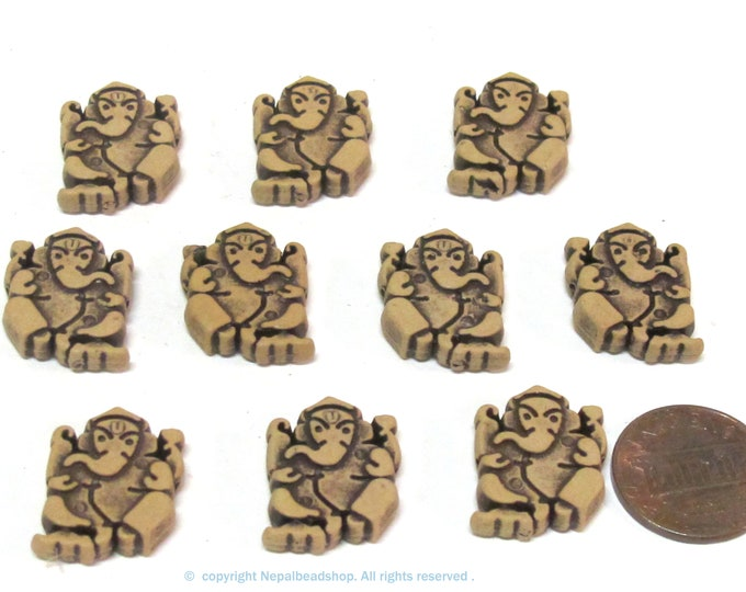10 Beads - Reversible Light weight acrylic antiqued brown color Ganesha beads - BD661s