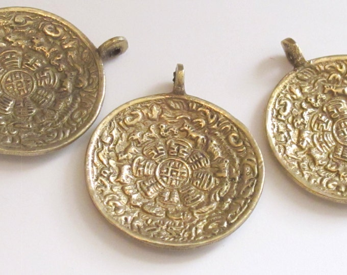 3 PENDANTS - Tibetan Om with calendar  timeline wheel Solid Brass pendant  50 mm height x 43 mm wide - CP051
