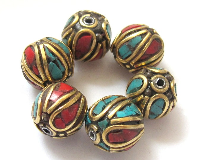 Oval shape nepal brass beads - BD046 - 1 bead