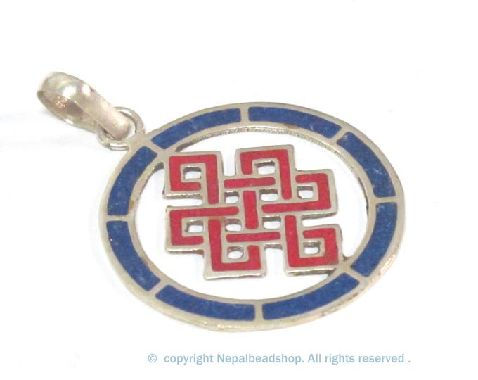 1 Pendant - Round thin disc shape Tibetan infinity Endless knot pendant - PM307E
