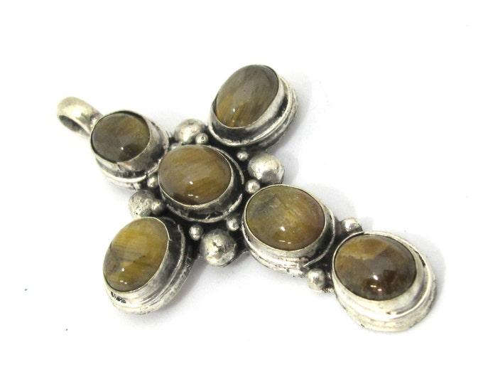 1 Pendant - Tibetan Tigers eye gemstone cross pendant from Nepal - PM230P