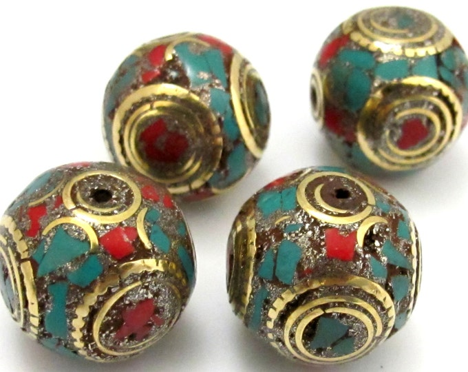2 BEADS - Large 20 mm size beautiful cuboid shape nepal brass beads with turquoise coral inlay  - BD623