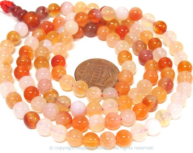 108 beads small 6 mm size mix brown color tones agate mala making Beads supply - ML003C