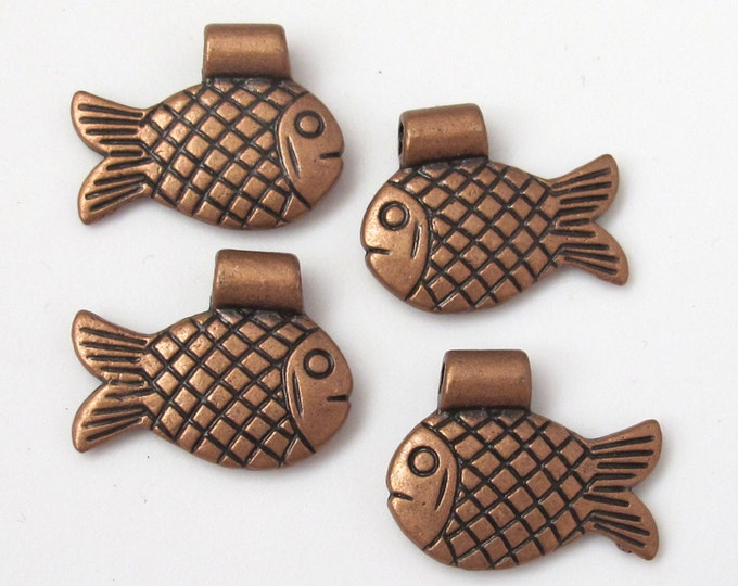 4 pieces - Dual sided Copper fish metal pendant charm beads - BD364
