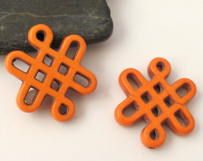 2 beads - Tibetan knot symbol magnesite beads  orange color - GM159 A